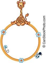schattig, giraffe, grens, ronde