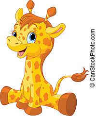 schattig, giraffe kalf
