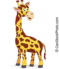 schattig, giraffe, spotprent, vrijstaand