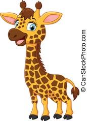 schattig, giraffe, spotprent, vrolijke