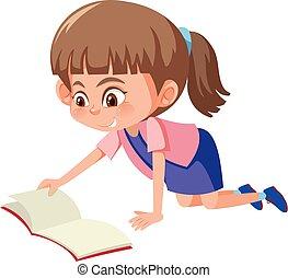 schattig, girl lezen, boek