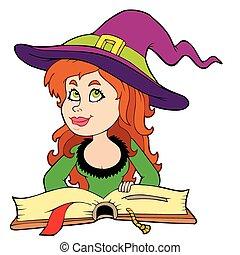 schattig, girl lezen, heks, boek