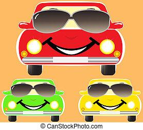 schattig, glimlachen, auto's, in, zonnebrillen
