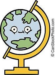 schattig, globe, spotprent, wereld