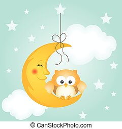 schattig, goed, uil, maan, nacht, kaart