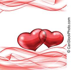 schattig, golvend, hartjes, achtergrond, valentijn