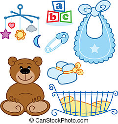 schattig, grafisch, elements., geboren, speelgoed, baby, nieuw