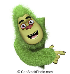 schattig, groene, bigfoot