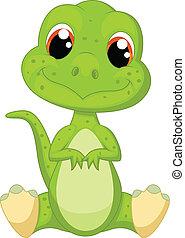 schattig, groene, dinosaurus, spotprent