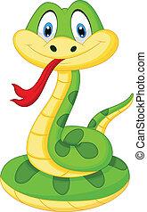 schattig, groene slang, spotprent