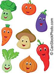 schattig, groente, spotprent