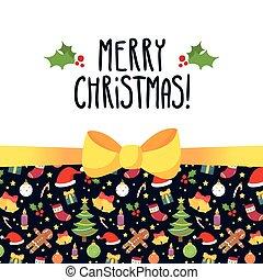 schattig, groet, boog, symbolen, vector, ontwerp, mal, vakantie, kerstmis kaart