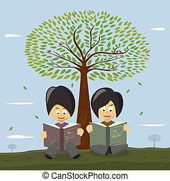 schattig, groot, meiden, boom., onder, kleine, het boek van de lezing