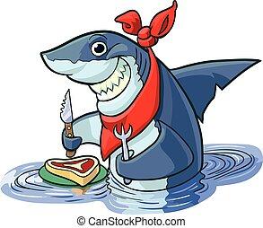 schattig, haai, biefstuk, spotprent, vrolijke
