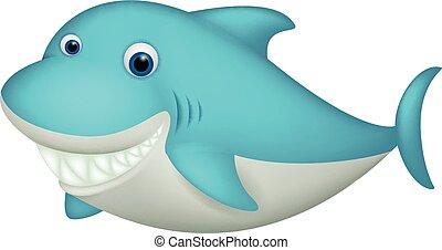 schattig, haai, karakter