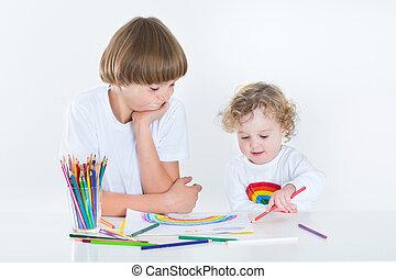 schattig, haar, kleurrijke, potloden, broer, meisje, toddler, tekening