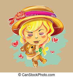 schattig, hand, getrokken, meisje, houdend teddy draag