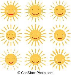 schattig, hand, getrokken, zon, iconen, met, smile., vector