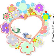 schattig, hart, jarig, bloemen, vogels, kaart