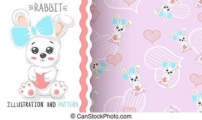 schattig, hart knippatroon, -, seamless, konijn