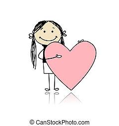 schattig, hart, tekst, valentijn, plek, meisje, jouw