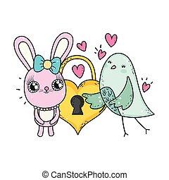 schattig, hart, valentines, hangslot, konijn, dag