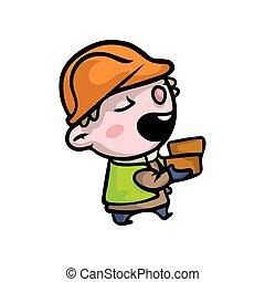schattig, helm, aannemer, jongen, sinaasappel, het glimlachen, kleren