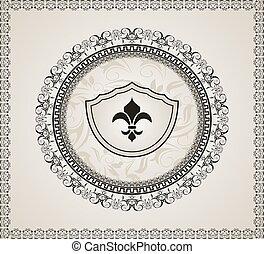 schattig, heraldisch, achtergrond, element