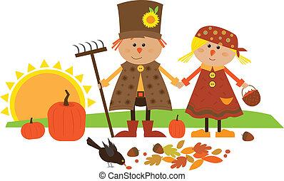 schattig, herfst, karakters