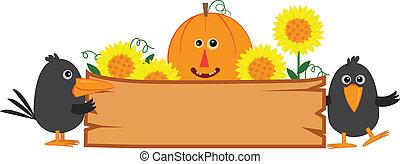 schattig, herfst, meldingsbord