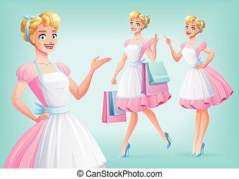 schattig, het glimlachen, huisvrouw, in, apron, in, anders, poses., vector, set.