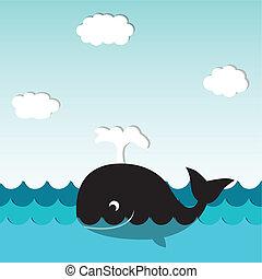 schattig, het glimlachen, walvis