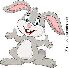 schattig, het poseren, spotprent, konijn