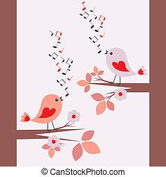 schattig, het zingen, vogels