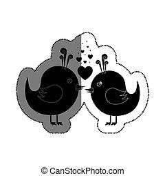 schattig, houd van vogel, kaart