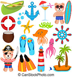 schattig, iconen, beer, thema, vector, zomer