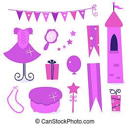 schattig, iconen, voor, kleine prinses, feestje, vrijstaand, op wit, (, roze, )