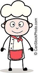 schattig, illustratie, gezicht, kok, vector, het glimlachen, spotprent