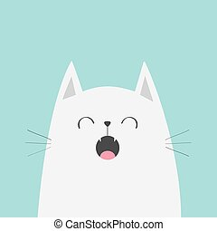 schattig, isolated., character., ontwerp, gezicht, het zingen, style., kawaii, gekke , song., silhouette, card., aanhalen, achtergrond., animal., witte , vlak hoofd, blauwe , baby, meowing, spotprent, collection., kat