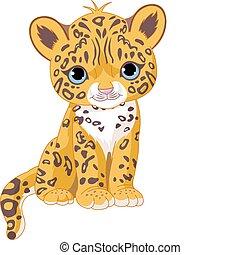 schattig, jaguar, welp