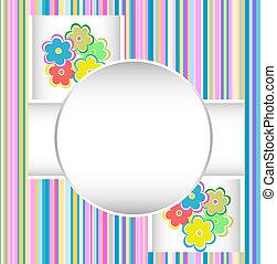 schattig, jarig, flowers., vector, kaart, vrolijke