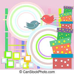 schattig, jarig, vector, feestje, vogels, kaart