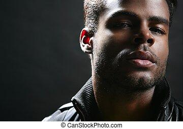 schattig, jonge, amerikaan, black , afrikaan, verticaal, man