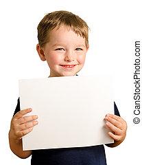 schattig, jonge, vrolijke , peuter, jongen, voor het houden, leeg teken, met, kamer, voor, kopie, vrijstaand, op wit