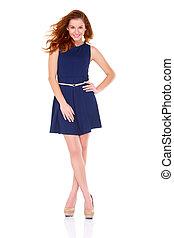 schattig, jonge vrouw , in, marineblauw, jurkje, op wit