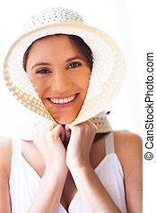 schattig, jonge vrouw , met, zomer hoed
