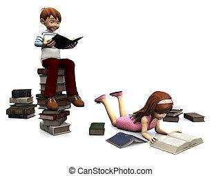 schattig, jongen, books., omringde, meisje, spotprent