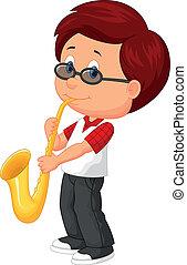 schattig, jongen, saxofone, spelend, spotprent