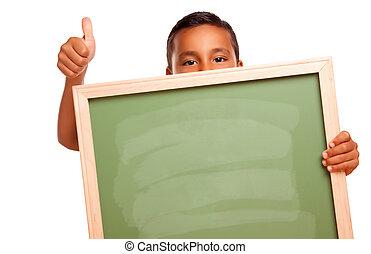 schattig, jongen, spaans, chalkboard, vasthouden, leeg