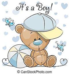 schattig, jongen, teddy, groet, beer, douche, baby, kaart